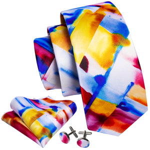 Yellow Blue Novelty Print Men's Necktie Pocket Square Cufflinks Set