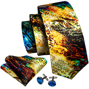 Golden Black Novelty Print Men's Necktie Pocket Square Cufflinks Set with Lapel Pin