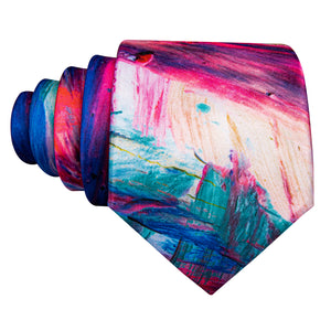 Pink Blue Novelty Print Men's Necktie Pocket Square Cufflinks Set