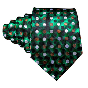 Shiny Green Polka Dot Necktie Pocket Square Cufflinks Set