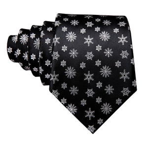 Black Snowflake Necktie Pocket Square Cufflinks Set