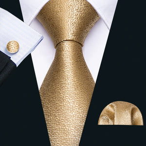 Champagne Golden Solid Men's Tie Pocket Square Cufflinks Set