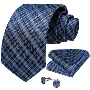 Blue Plaid Handmade Silk Jacquard Woven Men's Tie Hanky Cufflinks Set 8cm