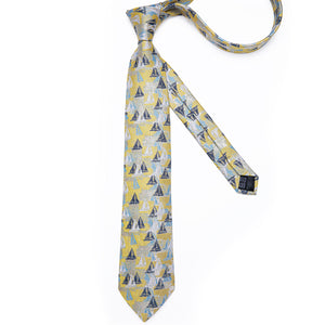 Yellow Sailboat Tie Pocket Square Cufflinks Set 8cm