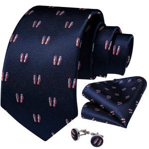 Navy Blue Sandy Slipper Novelty Silk Men's Tie Hanky Cufflinks Set 8cm