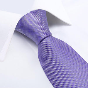 Purple Solid Tie Pocket Square Cufflinks Set 8cm