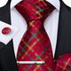 4PCS Red Green Plaid Necktie Hanky Cufflinks Tie Clip Set