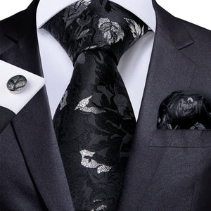 Black Silver White Floral Men's Necktie Pocket Square Cufflinks Set 8cm