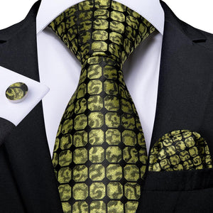 Yellow Plaid Men's Necktie Pocket Square Cufflinks Set 8cm