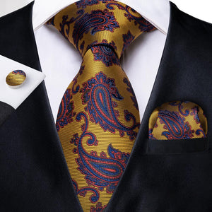 Golden Purple Paisley Men's Necktie Pocket Square Cufflinks Set 8cm