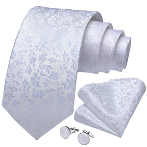 Silk White Floral Men's Necktie Pocket Square Cufflinks Set