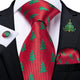 Christmas Red Christmas Tree Novelty Men's Necktie Pocket Square Cufflinks Set with Lapel Pin