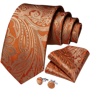 New Silver Golden-brown Paisley Tie Ring Pocket Square Cufflinks Set