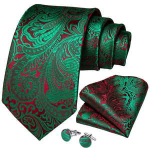 Shiny Green Red Paisley Tie Pocket Square Cufflinks Set