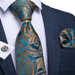 New Fashionable Silver-Blue Paisley Tie Ring Pocket Square Cufflinks Set