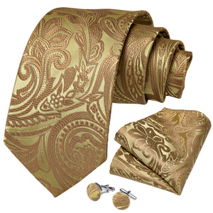 New Golden Green Paisley Tie Ring Pocket Square Cufflinks Set