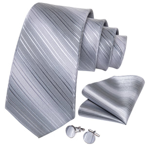 New Silver Grey Striped Men's Necktie Pocket Square Cufflinks Set