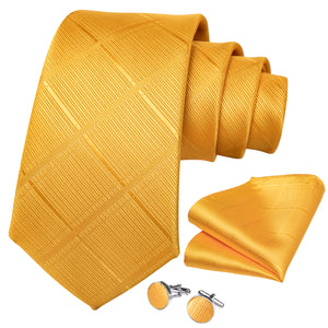 New Silver Yellow Plaid Men's Necktie Pocket Square Cufflinks Set with Lapel Pin