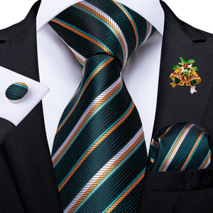 New Dark Green Orange Line Striped Men's Necktie Pocket Square Cufflinks Set with Lapel Pin