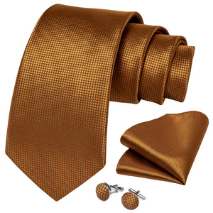 Golden Brown Plaid Tie Ring Pocket Square Cufflinks Set
