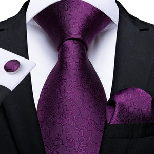 New Deep Purple Novelty Men's Necktie Pocket Square Cufflinks Set