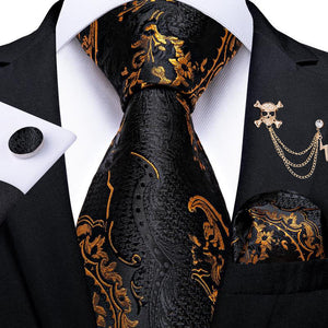 New Black Golden Paisley Men's Tie Handkerchief Cufflinks Set with Lapel Pin