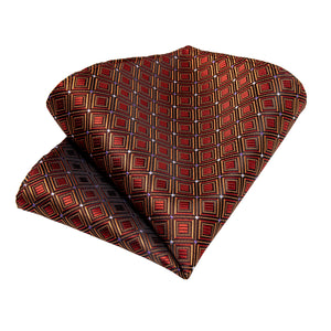 New Red-brown Shining Plaid Men's Necktie Pocket Square Cufflinks Set