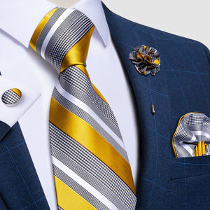 Grey Yellow Striped Men's Necktie Pocket Square Cufflinks Set with Lapel Pin