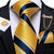 New Light Yellow Blue Striped Men's Necktie Pocket Square Cufflinks Set with Lapel Pin