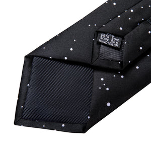 New Black Universe Planet Novelty Men's Necktie Pocket Square Cufflinks Set