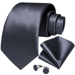 Gray Solid Necktie Pocket Square Cufflinks Set