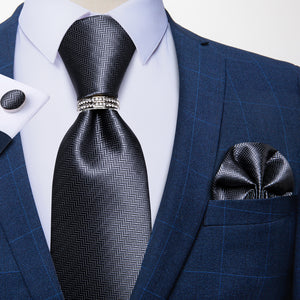 Gray Solid Tie Ring Pocket Square Cufflinks Set