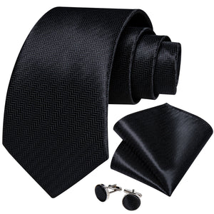 Black Solid Necktie Pocket Square Cufflinks Set