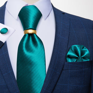 Teal Solid Tie Ring Pocket Square Cufflinks Set