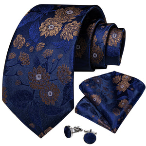 Blue Brown Floral Necktie Pocket Square Cufflinks Set