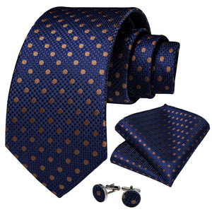 Blue Brown Polka Dot Necktie Pocket Square Cufflinks Set