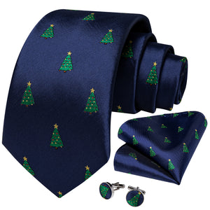 Christmas Deep Blue Xmas Tree Novelty Men's Necktie Pocket Square Cufflinks Set 2020
