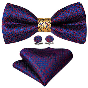 New Silver Purple Red Floral Pre-tied Bow Tie Hanky Cufflinks Set