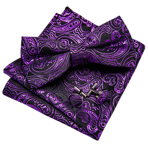 Purple Black Paisley Men's Pre-tied Bowtie Pocket Square Cufflinks Set
