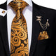 Brown Golden Paisley Men's Necktie Pocket Square Cufflinks Set with Lapel Pin