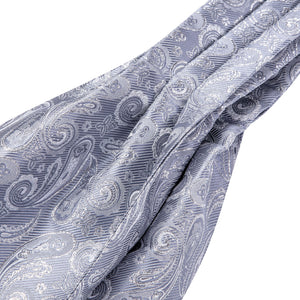 Light Grey Paisley Silk Ascot Cravat Pocket Square Cufflinks Set