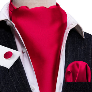 Shining Red Solid Silk Ascot Cravat Pocket Square Cufflinks Set