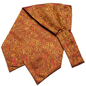 Orange Gloden Paisley Silk Ascot Cravat Pocket Square Cufflinks Set