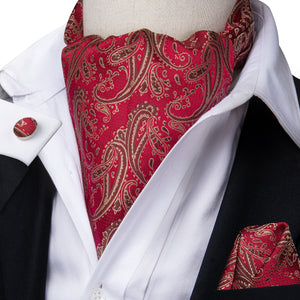 New Red Paisley Silk Ascot Cravat Pocket Square Cufflinks Set