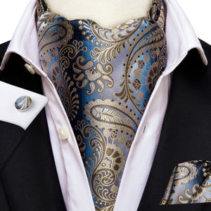 Silver Blue Shinning Paisley Silk Ascot Cravat Pocket Square Cufflinks Set