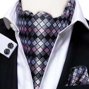 Grey Pink Plaid Silk Ascot Cravat Pocket Square Cufflinks Set