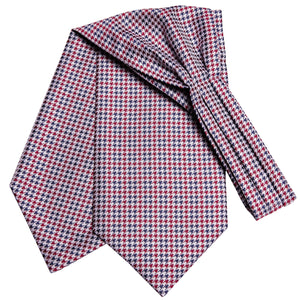 Red Blue Houndstooth Plaid Silk Ascot Cravat Pocket Square Cufflinks Set