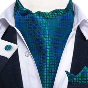 Gradient Blue Green Plaid Silk Ascot Cravat Pocket Square Cufflinks Set