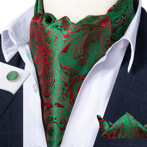 Luxury Green Red Paisley Silk Ascot Cravat Pocket Square Cufflinks Set
