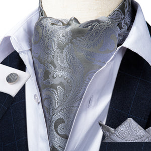 Silver Grey Paisley Ascot Cravat Pocket Square Cufflinks Set